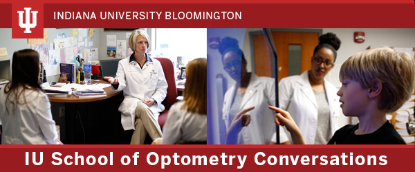 Header image showing two IUSO faculty meeting with optometry students and an optometry student working with a young child patient