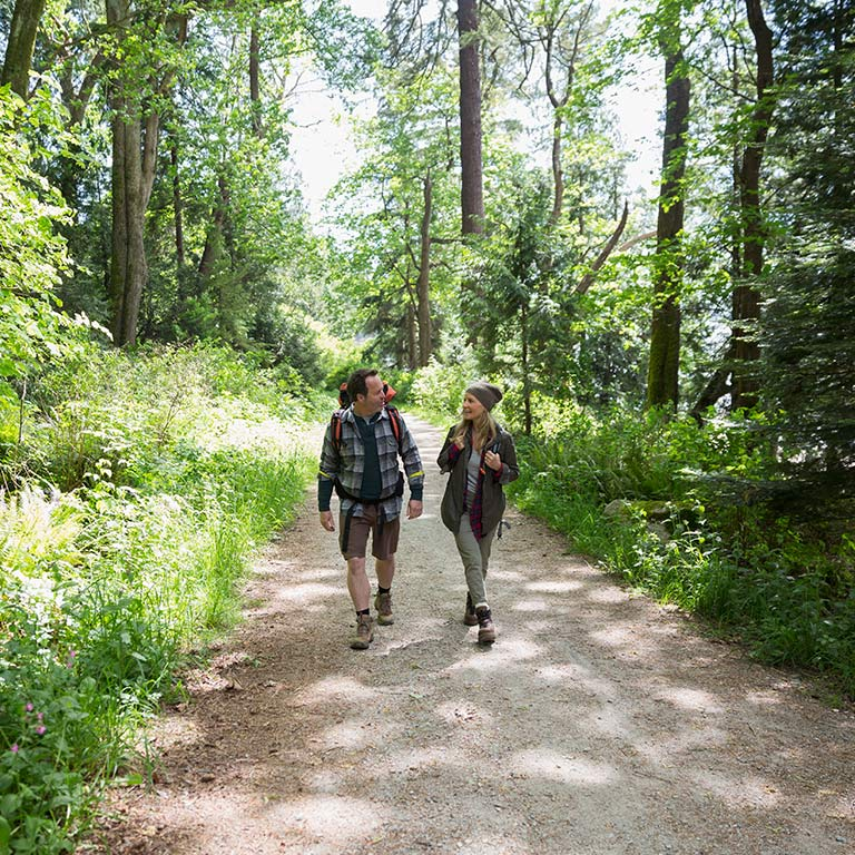 A couple hikes on an outdoor trail in Bloomington, surrounded by tall trees and grasses.