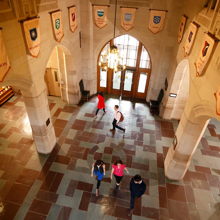 An overhead view of the inside of the Indiana Memorial Union