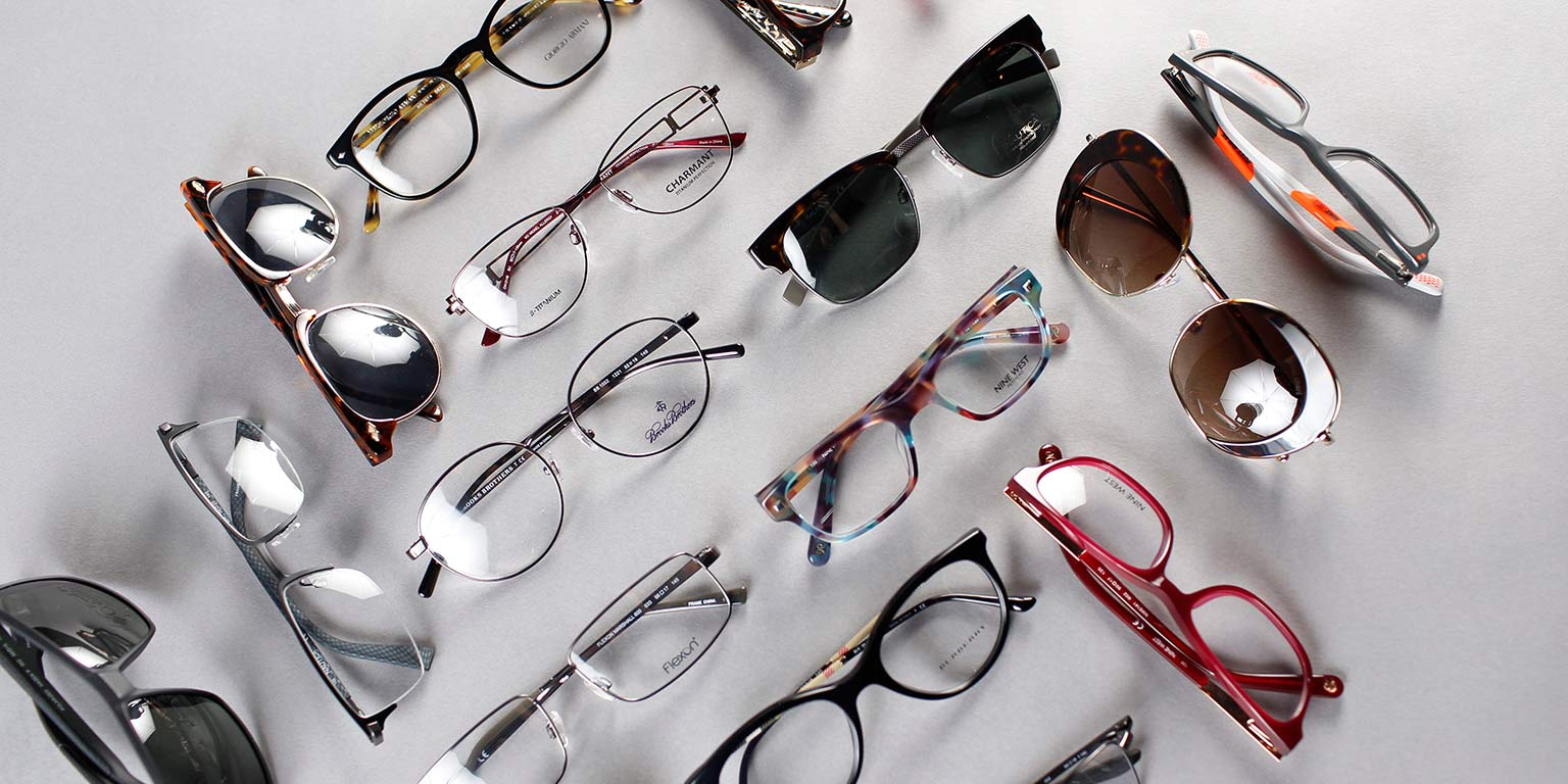 Collection of designer eyeglasses and sunglasses