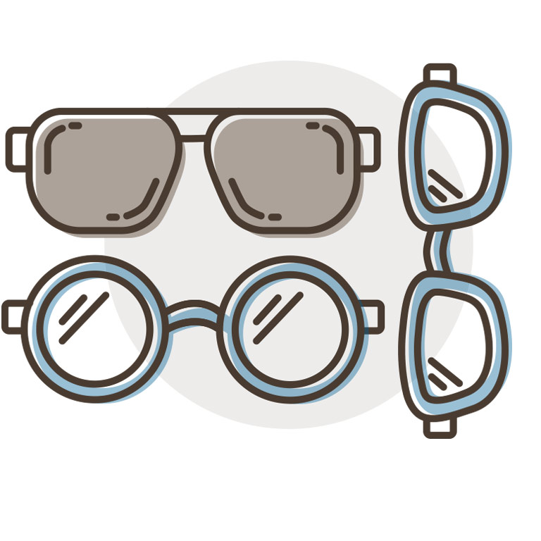 Collection of glasses and sunglasses icons
