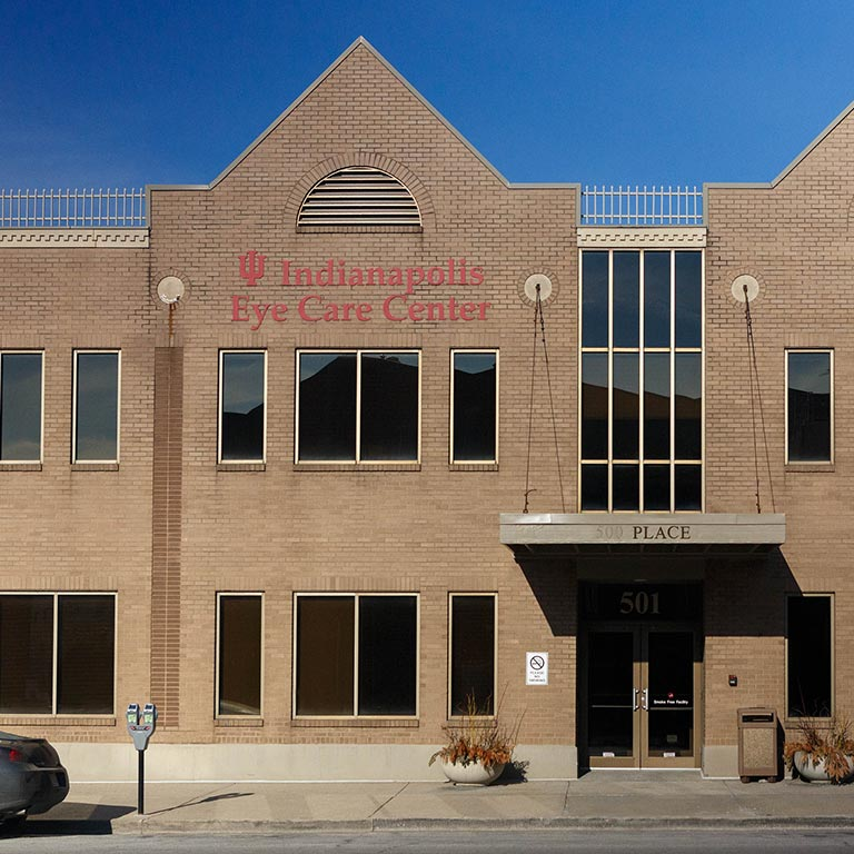The Indianapolis Eye Care Clinic, a tan brick building