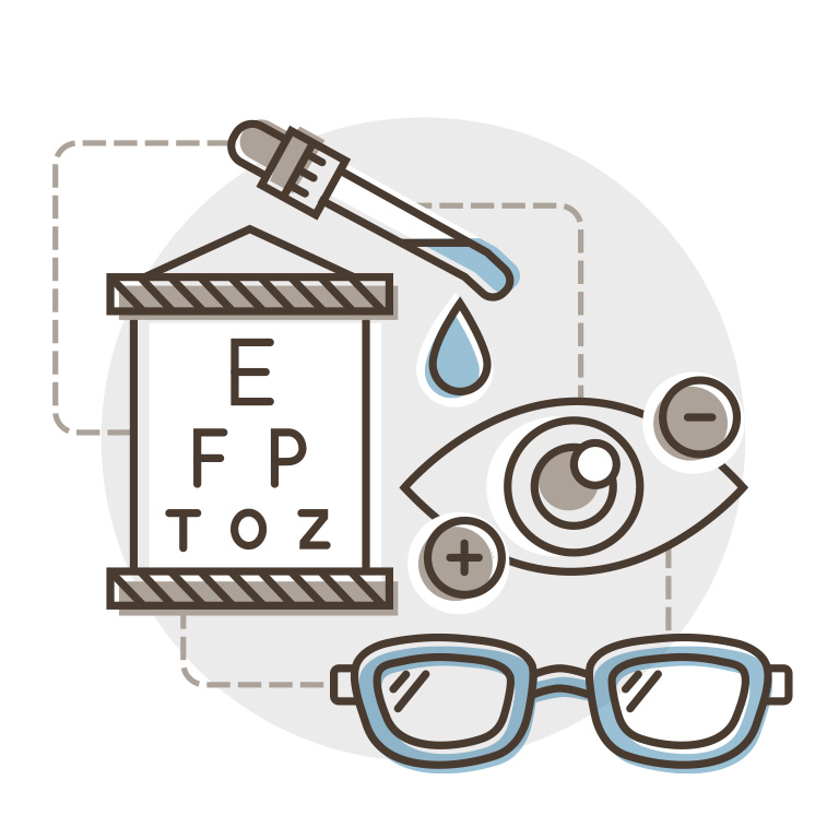 Collection of icons: eye chart, eye drops, glasses, eye with plus and minus signs