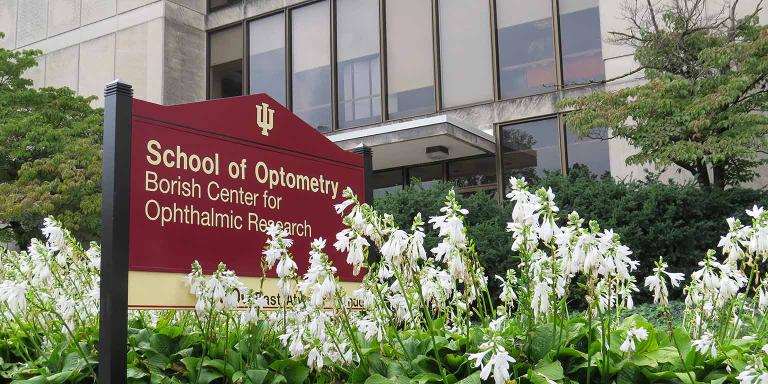 Sign that states: School of Optometry Borish Center for Ophthalmic Research